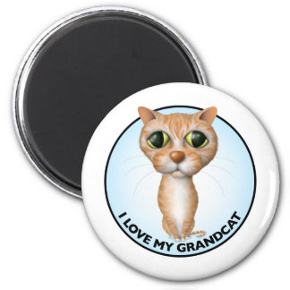 Orange Tabby Cat - I Love My Grandcat 2 Inch Round Magnet