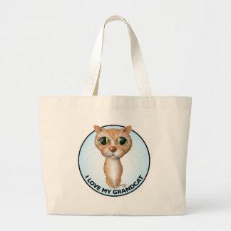 Orange Tabby Cat - I Love My Grandcat Large Tote Bag