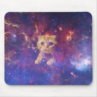 Orange Tabby Cat in space Mouse Pad