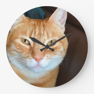 Orange tabby cat large clock
