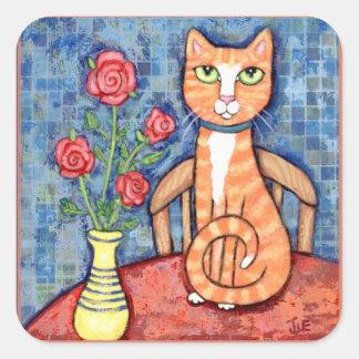 Orange Tabby Cat Lover's Cute Scrapbook Sticker