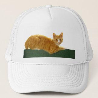 Orange Tabby Cat on Green Fence Trucker Hat