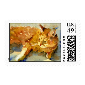 Orange Tabby Cat Postage Stamp