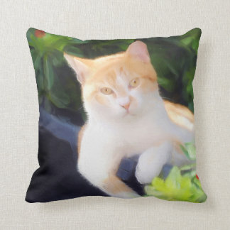 Orange Tabby Cat square pillow