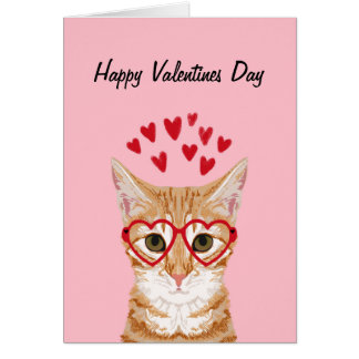 Orange Tabby Cat Valentines Love Card
