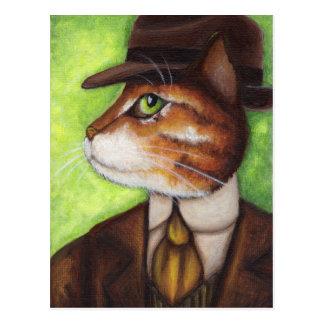 Orange Tabby Cat Wearing Suit Tie Hat Postcard
