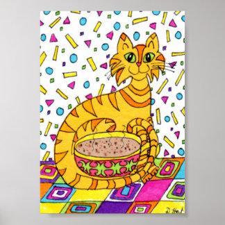 Orange Tabby Cat with Cappuccino Mini Folk Art Poster