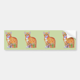 Orange Tabby Cat with Dancing Mice Bumper Sticker