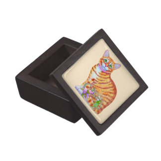Orange Tabby Cat with Dancing Mice Front Gift Box