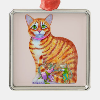 Orange Tabby Cat with Dancing Mice Front Metal Ornament