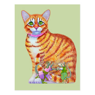 Orange Tabby Cat with Dancing Mice Front Postcard