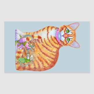Orange Tabby Cat with Dancing Mice Front Rectangular Sticker