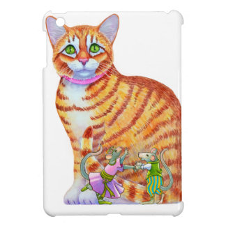 Orange Tabby Cat with Dancing Mice on the Front Case For The iPad Mini
