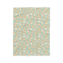 Orange Tabby Cats Illustrated Pattern Fleece Blanket