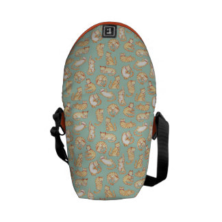 Orange Tabby Cats Illustrated Pattern Messenger Bag