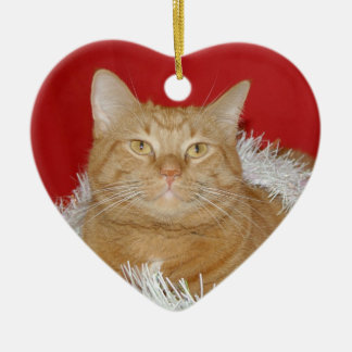 Orange tabby Christmas Ceramic Ornament