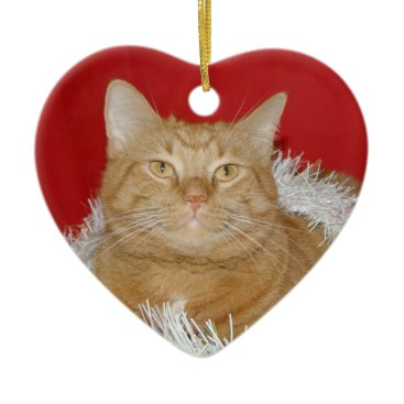 Christmas Themed Orange tabby Christmas Ceramic Ornament