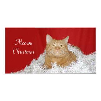 Orange tabby Christmas Customized Photo Card