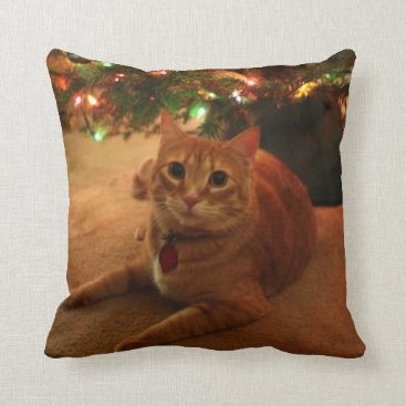 Christmas Themed Orange Tabby Christmas Pillow