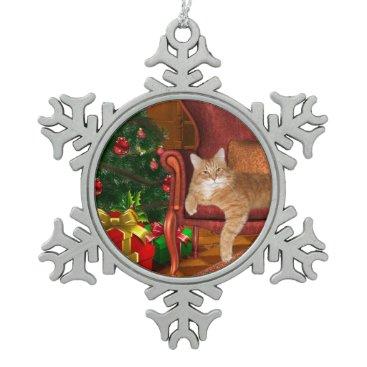 Christmas Themed Orange tabby Christmas Snowflake Pewter Christmas Ornament