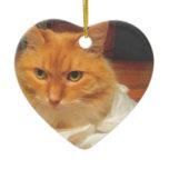 Orange Tabby Double-Sided Heart Ceramic Christmas Ornament