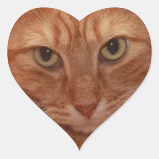 Orange Tabby Heart Sticker