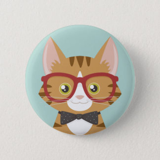 Orange Tabby Hipster Cat Illustration Pinback Button