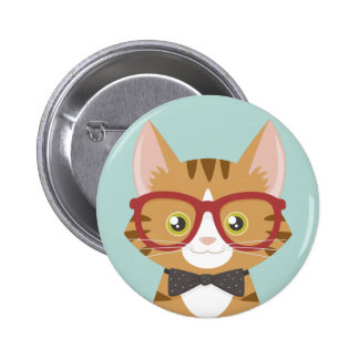 Orange Tabby Hipster Cat Illustration Pinback Button