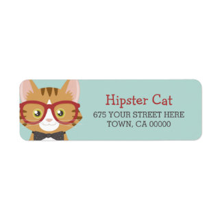 Orange Tabby Hipster Cat Kids Label