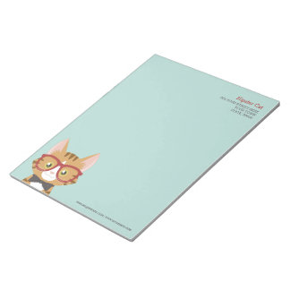 Orange Tabby Hipster Cat Kids Large Notepad