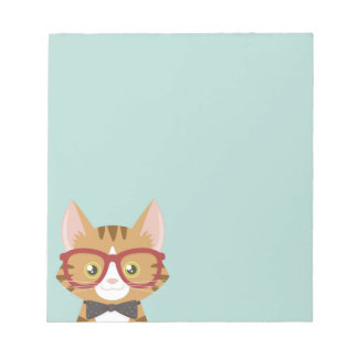 Orange Tabby Hipster Cat Kids Small Notepad