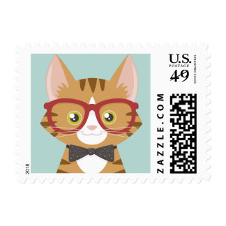 Orange Tabby Hipster Cat Postage Stamp