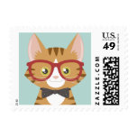 Orange Tabby Hipster Cat Stamps
