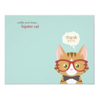 Orange Tabby Hipster Cat Thank You 4.25x5.5 Paper Invitation Card