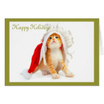Orange Tabby in Santa Hat Holiday Card (Blank)