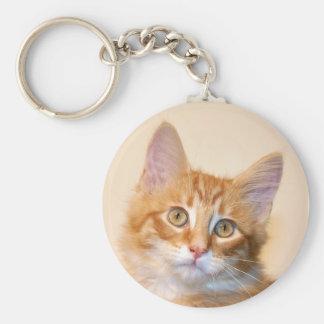 Orange tabby kitten keychain