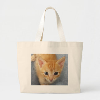 Orange tabby kitten large tote bag