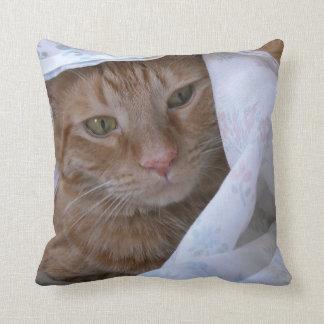 Orange Tabby Kitty Cat Throw Pillow