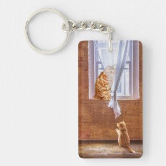 Orange tabby kitty cats keychain