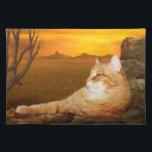"Orange tabby lazes in the sun placemat<br><div class=""desc"">Long haired orange tabby kitty cat lazes on the rocks in sun cat lovers place mat</div>"