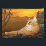 "Orange tabby lazes in the sun placemat<br><div class=""desc"">Long haired orange tabby kitty cat lazes on the rocks in sun cat lovers place mat</div>"
