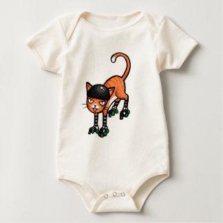 Orange tabby on rollerskates baby bodysuit
