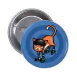 Orange tabby on rollerskates buttons
