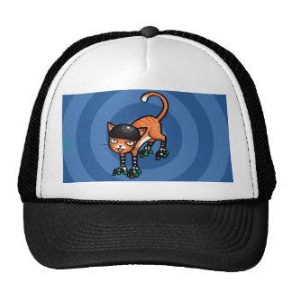Orange tabby on rollerskates cap