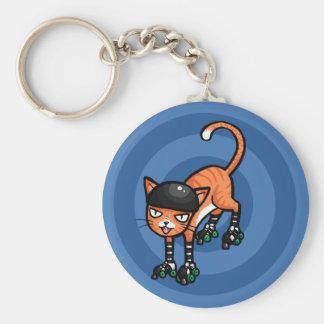 Orange tabby on rollerskates keychain