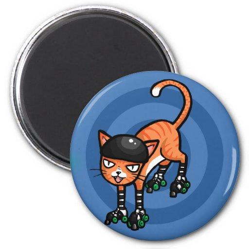Orange tabby on rollerskates magnet