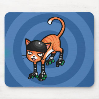 Orange tabby on rollerskates mouse pad