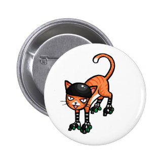 Orange tabby on rollerskates pinback button