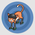 Orange tabby on rollerskates stickers