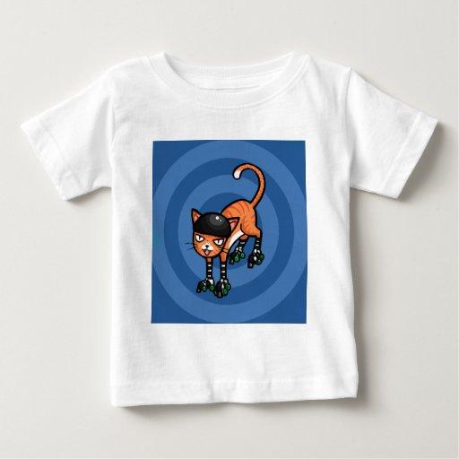 Orange tabby on rollerskates t-shirts